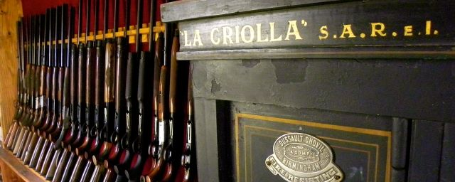 Shotguns on the wall of Estancia La Criolla Lodge