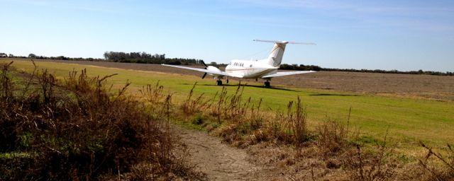 Airplane on Landing Strip at Estancia La Criolla